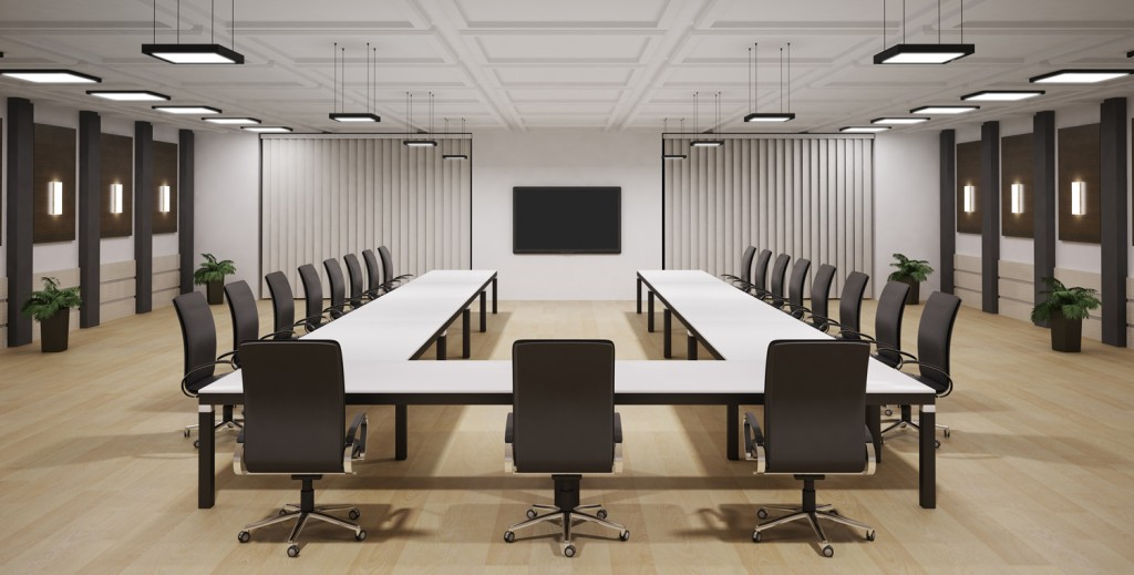 conference room with lcd tv interior 3d render