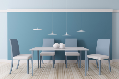 Modern blue dining room interior 3d render