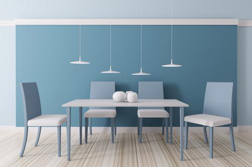Modern blue dining room interior 3d render